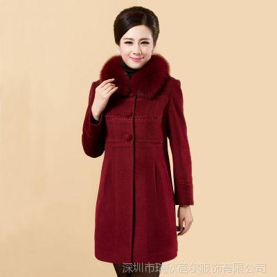 2014中冬装老年女装妈妈装真狐狸毛领羊绒羊毛呢子大衣外套
