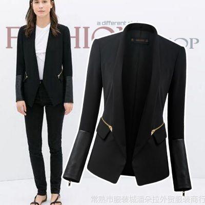 供应SU2244  2014欧美风女士秋季新款 纯色黑色立领修身西服