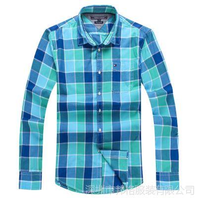 供应2014秋冬男式长袖衬衫尊贵型格纹修身衬衫纯棉 英伦格子衫 欧码