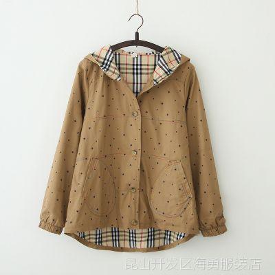 2014秋季新款日系森五角星印花冲锋衣女式外套长袖风衣
