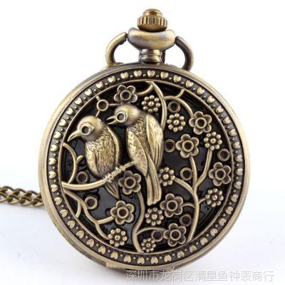 经典韩版复古怀旧大款毛衣链手表 翻盖镂空古铜男女喜鹊项链怀表