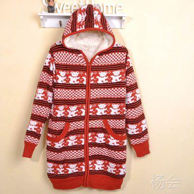 厂家直供加厚毛衣 毛衣开衫加厚外套 小熊图案加绒带帽长款毛衣