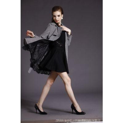 欧美大牌女式风衣外套 蕾丝花边中长款千鸟格风衣裙摆型大衣