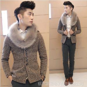 供应冬季男士保暖加厚质量超好可拆卸毛领毛呢大衣 男式风衣外套