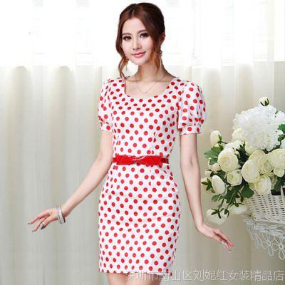 模特实拍10088 夏装新款白底红色波点清纯淑女修身连衣裙