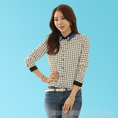 2014春装新款修身韩版大码衬衣女上装 显瘦格子衬衫雪纺衫