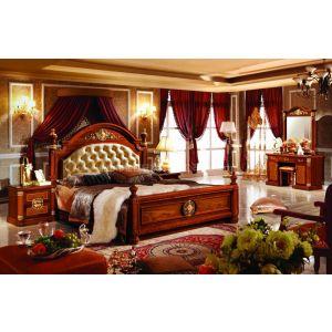 工厂供应高档欧式新古典沙比利民用卧室家具床,衣柜和梳妆台CDB-516#