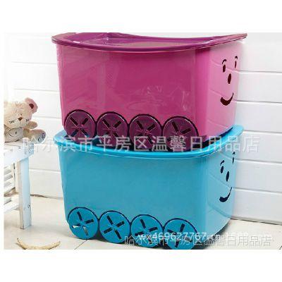 哈尔滨 正品托马斯卡通玩具塑料滑轮整理箱衣物储物收纳大号80L
