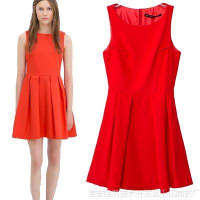 2014夏季新款欧美大牌红色时尚修身连衣裙蛋糕裙背心裙短裙女批发