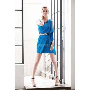 供应服装批发韩国SZ20925新款夏装高档气质配腰带时尚连衣裙