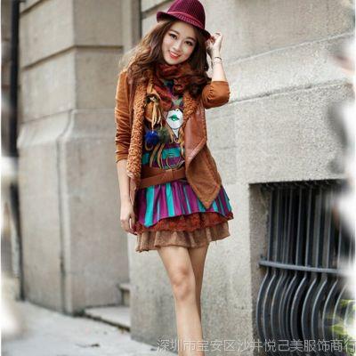 2014新款秋装女装两件套韩版加厚长袖冬季连衣裙套装