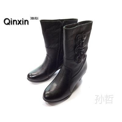 2014新款真皮单靴妈妈中筒靴粗跟妈妈鞋子中跟真皮女靴马丁靴