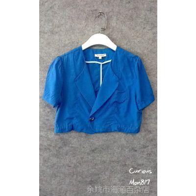 欧洲站 kensun 蓝色超短一粒扣休闲小西装