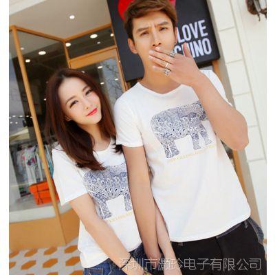 新款情侣装 个性时尚女士短袖t恤 韩版修身夏装小衫 班服K147