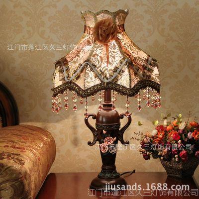 欧式田园创意时尚艺术台灯 卧室床头调光复古台灯 客厅装饰台灯