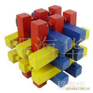 彩色十八方锁/十八罗汉/成人智力/休闲/木制 彩色十八柱 木制玩具