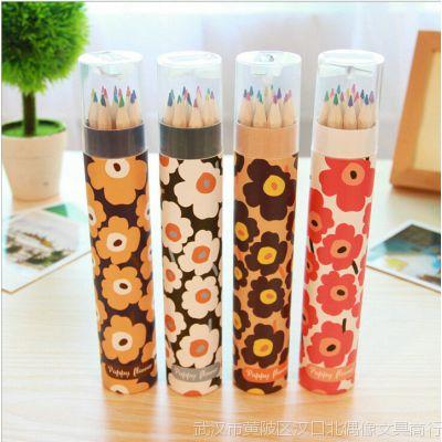 韩国文具批发 麦和花之语彩铅 12支装长 彩色铅笔 MH1401-267