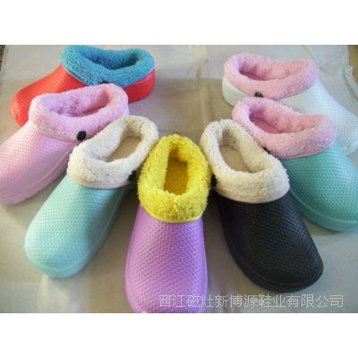 厂家批发 男式棉鞋 冬季女式情侣家居棉鞋 舒适防滑拼色懒人棉鞋