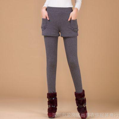 女装批发2014冬季加绒加厚打底裤大码短裤假两件保暖长裤一件代发