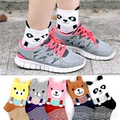 2015新款W119韩版运动休闲棉袜子 可爱立体耳朵小熊短袜女清仓