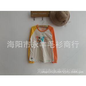 供应14年春款 纯棉打底衫拼色 长袖圆领T恤TTLA41203K-00 LA41203K