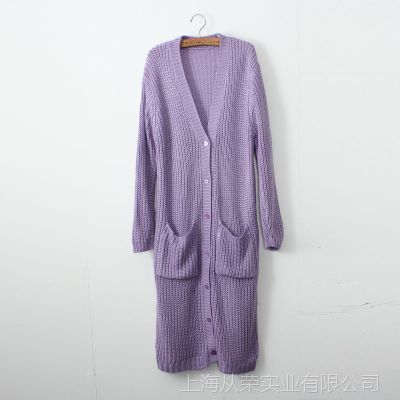 2014秋冬新款宽松大码韩版超长款女毛衣外套开衫女毛线风衣针织衫