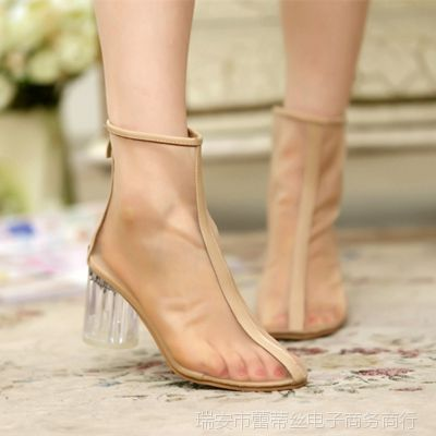 春秋新款尖头高跟鞋凉靴欧美罗马水晶粗跟裸靴夏季网纱女靴短靴子