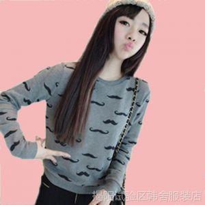 供应2014早春新款韩版修身圆领女显瘦甜美百搭长袖卫衣打底衫
