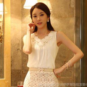供应2014韩版新款无袖背心吊带打底衫l亮片褶皱雪纺衫背心T恤