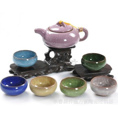 冰裂茶具 茶具套装 功夫茶具 冰裂纹 开片裂纹茶具一线直批