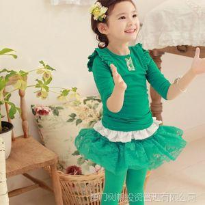 供应2013新款童装原单外贸全棉现货纯色打底衫  7年韩国老厂直销