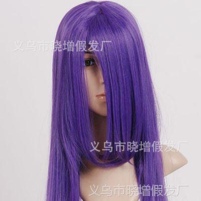 义乌假发厂家直销女生长直发cos动漫发型齐刘海高温丝批发