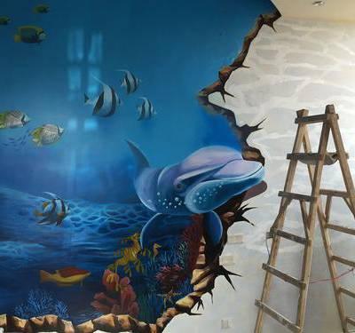 供应江西南昌工地外墙、厂房、通道立柱、天桥墙面彩绘涂鸦南昌手绘墙!