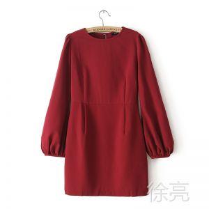 供应2013秋装新款 欧美风时尚百搭复古酒红色灯笼袖高腰修身连衣裙