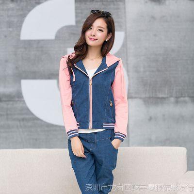 实拍春秋新款少女装韩版中学生牛仔外套开衫卫衣套装女两件套