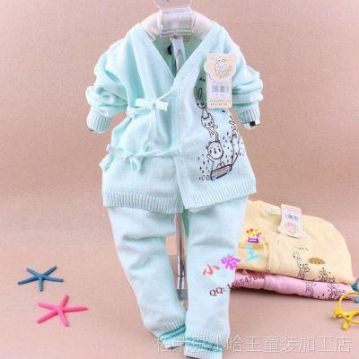 2014秋冬新款儿童毛衣套装 宝宝卡通系带开衫套装 比卡琪琪12068
