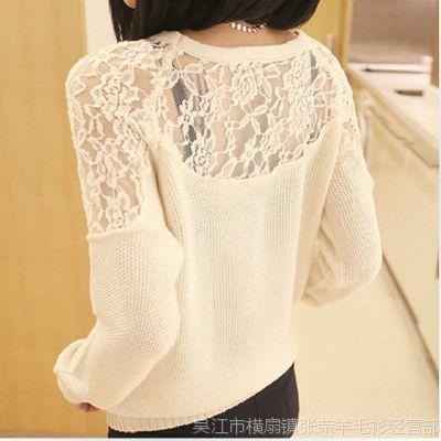 2014新款秋冬装韩版女装性感蕾丝镂空打底衫 针织衫低领 毛衣