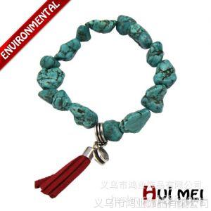 供应天然几何形绿松石手链 个性手链 欧美流行时尚红色流苏手链 现货