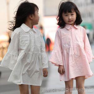 供应春季童衬衫 2014女童长袖长短款纯色衬衫上衣 巴朵贝贝厂家直销