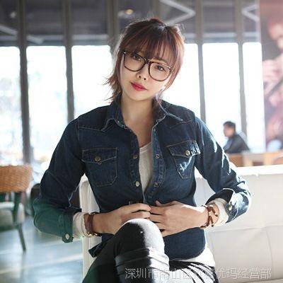 2015韩国专柜春装新品甜美翻领休闲牛仔上衣短装长袖牛仔外套