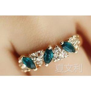 供应复古感祖母绿戒指 甜美闪钻戒指 钻戒圈 钻戒指 戒环 戒指饰品