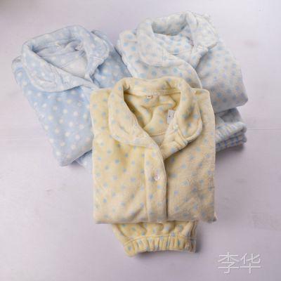 外贸原单女士波点简约保暖长袖睡衣冬季加厚法兰绒睡衣日系