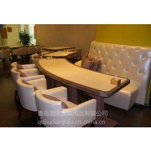 供应青岛厂家专业 定做酒店桌椅家具 电动桌 宴会会所桌椅 卡座沙发 台布椅套蝴蝶结椅套