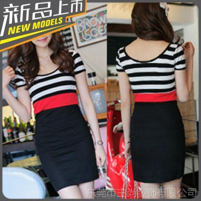 2014春夏新款日韩女装卖韩版新品黑白条纹撞红色腰包臀修身连衣裙