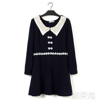 L16大码女装秋冬款双层领蕾丝镶边加绒加厚套头连衣裙 0.55kg