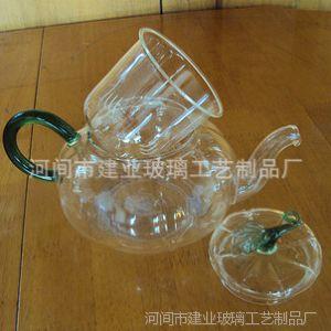 供应玻璃南瓜壶 绿把花茶壶 带玻璃内胆过滤