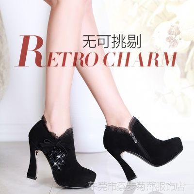 供应批发搭配超值热卖单鞋高级牛翻皮粘胶鞋35码36码 圆头女鞋