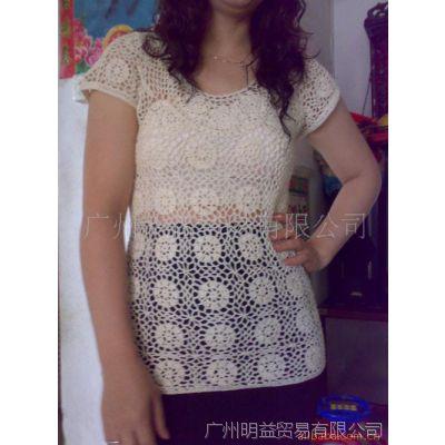 供应手钩衫可选用棉线毛线人丝线空心带手工手勾中长裙衫