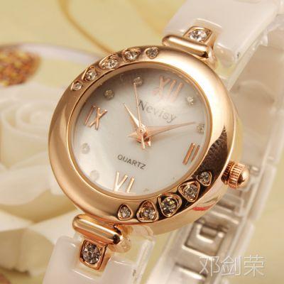 进口机芯 2014新款防水陶瓷手表 镶钻女士手表 191058