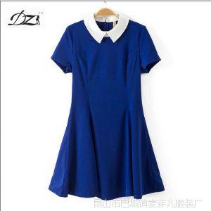 供应DZ 14新款欧美风撞色娃娃领子短袖高腰连衣裙 短裙打底裙子女